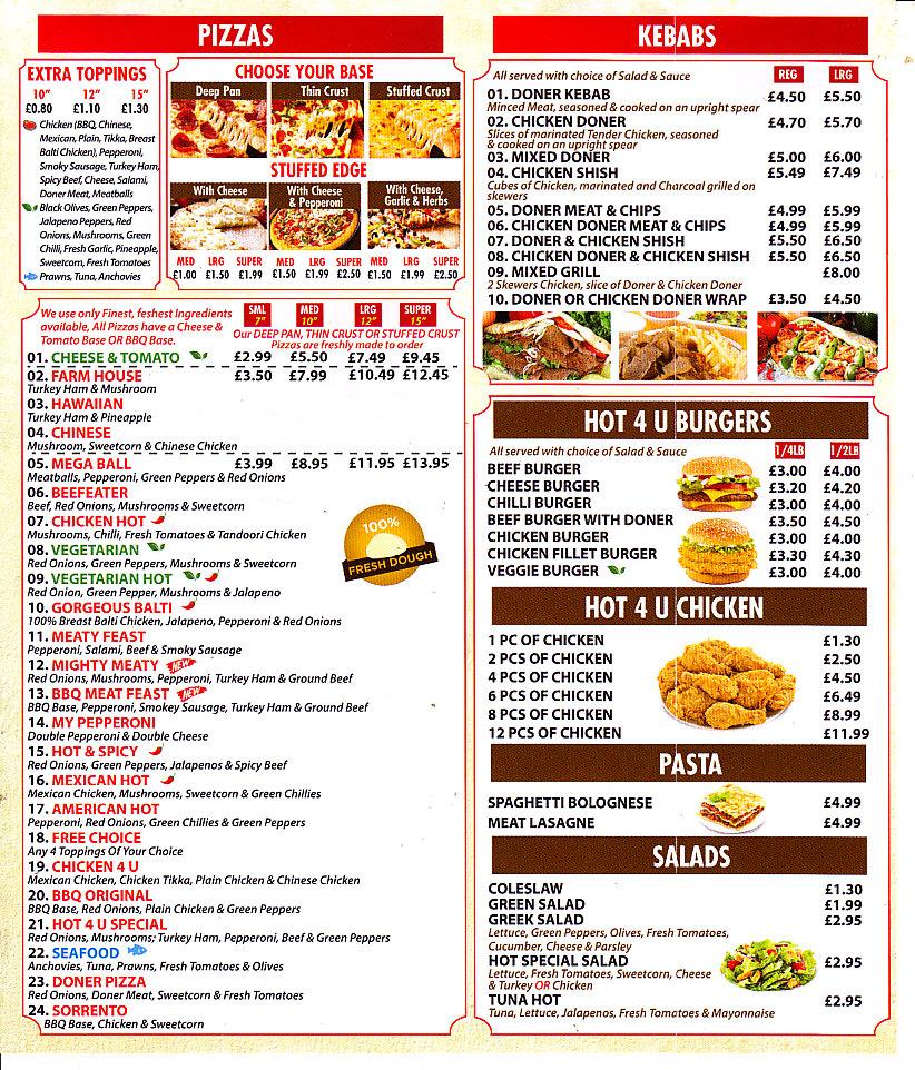 Pizza Hot 4 U Takeaway In Barry